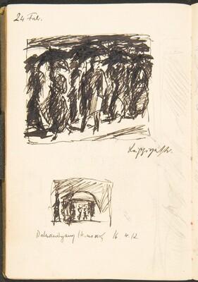 Zwei Skizzen, Bezeichnungen (Two Sketches with Inscriptions) [p. 43]
