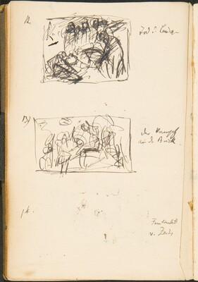 Drei kleine Skizzen mit Bezeichnung (Three Small Sketches with Inscriptions) [p. 49]