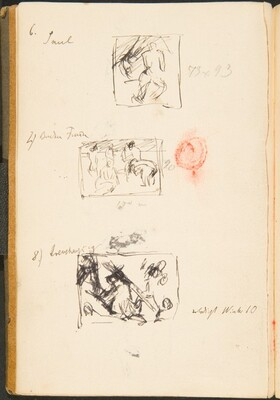 Drei kleine Skizzen mit Bezeichnung (Three Small Sketches with Inscriptions) [p. 51]