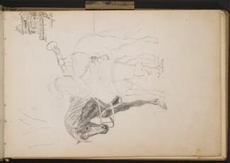 Mittelalterlich gekleideter Mann, Trompete blasend mit Pferd (Medieval Trumpeter by His Horse) [p. 1]