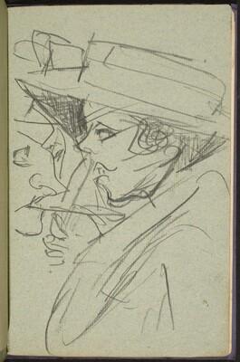 Frau mit Hut im Gespräch (Woman in Hat Talking) [p. 43]