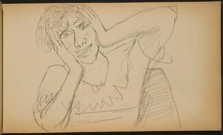 Lachende Frau mit an den Kopf gelegten Händen (Woman Laughing with Hands at her Head) [p. 57]