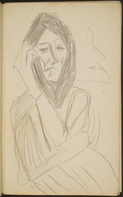 weibliche Figur mit Kopftuch und Profil im Hintergrund (Forlorn Figure with Headscarf and Profile) [p. 9]