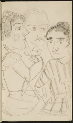 Drei zu Tisch sitzende Figuren (Three Figures at a Table) [p. 77]