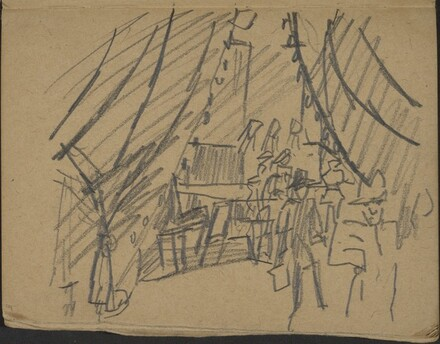 Blick in ein Interieur durch einen Vorhang (Curtains Drawn) [p. 5]