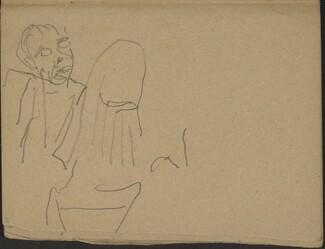 Singender (?) Mann und begonnene Studie (Two Figures, One Might Be Singing) [p. 15]