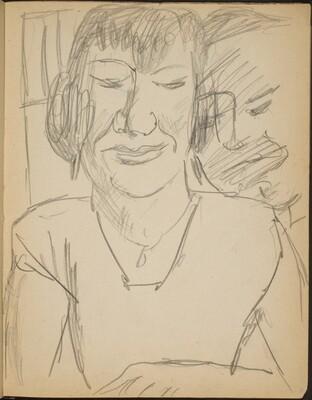 Weibliche Bildnisstudie und männliches Gesicht  (Study of Female and Male Face) [p. 13]