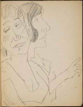 Zwei weibliche Bildnisstudien (Study of Two Ladies in Profile) [p. 17]