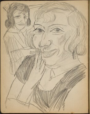 Lächelnde Frau mit Zigarette (Smiling Lady Smoking with an Onlooker) [p. 26]