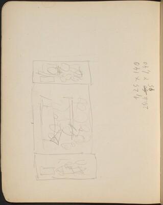 Kompositionsskizze mit Bezeichnung (Sketch for Triptych) [p. 18]