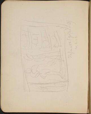 Balancierende Figuren auf Bühne, Bezeichnung (Sketch of Balancing Figures on a Stage, inscription) [p. 28]