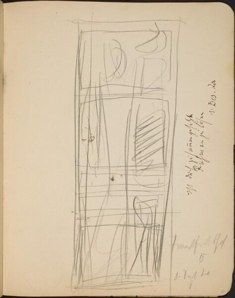 Skizze mit Gebäude und Himmel, Bezeichnung (Vertical Sketch with Building and Sky, Inscription) [p. 35]