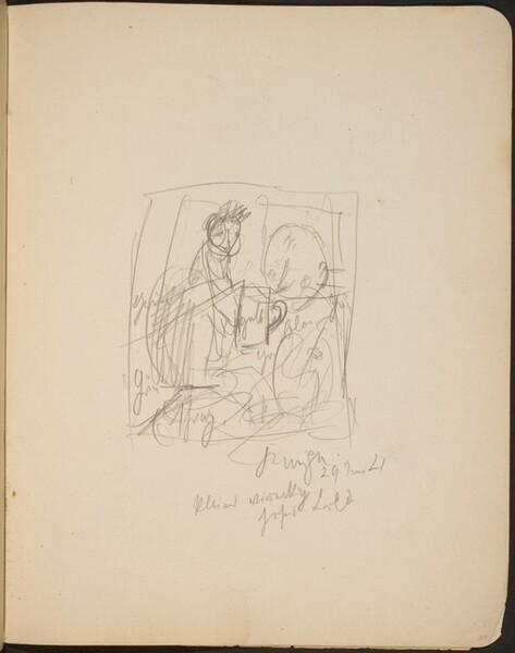 Mehrfigurige Skizze in Kneipe, Bezeichnung (Group Scene in Pub with Inscriptions) [p. 37]