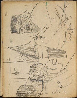 Drei Figuren in Interieur, Notizen (Three Figures with Inscriptions) [p. 22]
