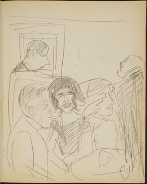 Tischgesellschaft in einer Bar (Five People at a Table in a Bar) [p. 13]