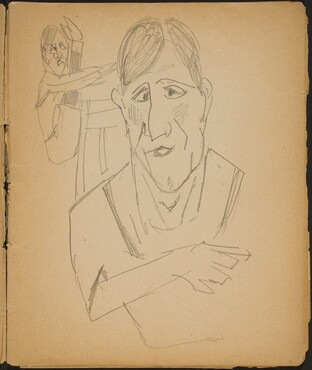 Ältere Frau und Artist im Hintergrund (Elderly Woman and a performer in the background) [p. 9]