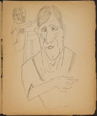 Ältere Frau und Artist im Hintergrund (Elderly Woman and a performer in the background) [p. 9]