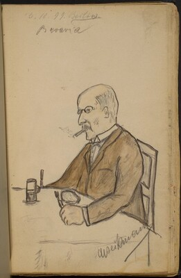 Man Seated at a Dining Table, Smoking