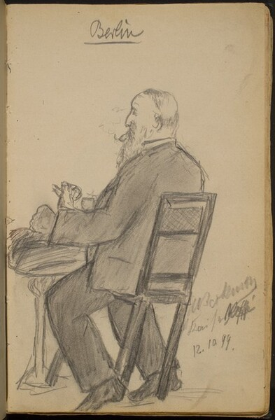 Bearded Man at a Cafe Table, Smoking