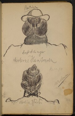 Two Studies of Women's Heads seen from Behind