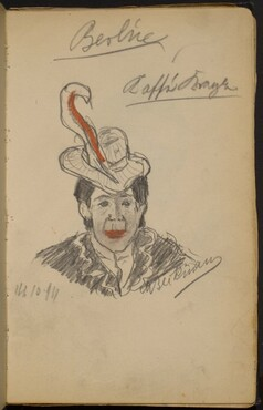 Woman in Hat with a Red Feather