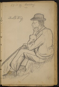 Man Seated on the Grass with a Cane
