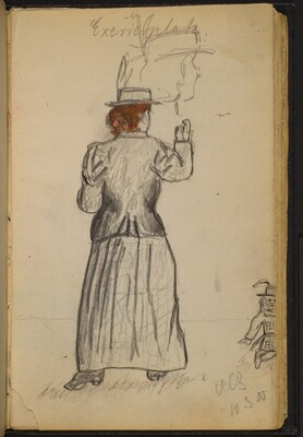 Woman Outside, Looking in the Direction of a Young Girl