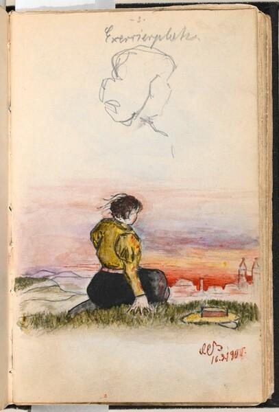 Girl on a Hillside Looking toward a Town