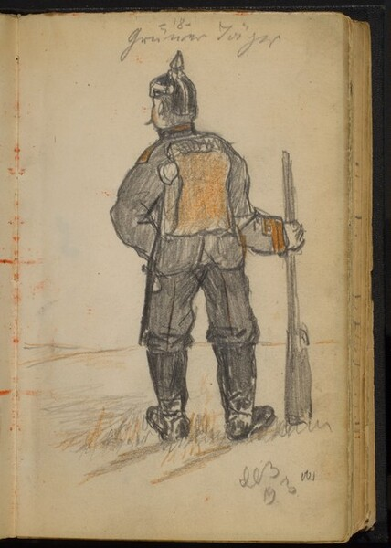 Soldier with a Rifle seen from Behind