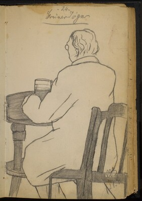 Man Seated at a Table seen from Behind