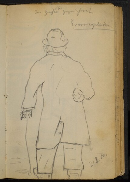 Man with a Bundle under His Arm, Walking with a Cane