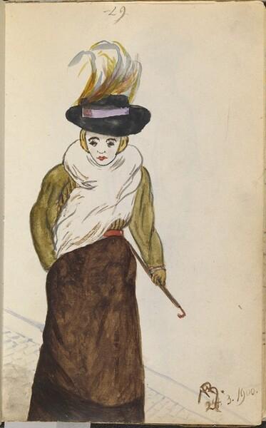 Elegant Woman on a Cobblestone Walkway
