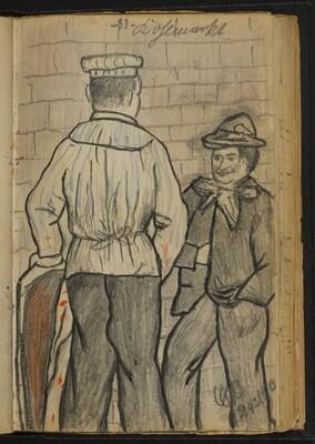 Two Men Conversing at a Wall