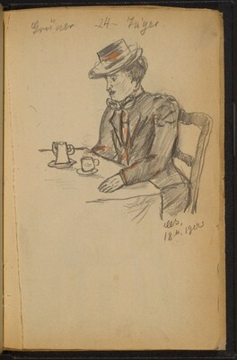 Woman at a Table Drinking Tea