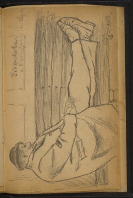 Man Reclining on a Bench