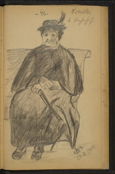 Woman on a Bench Holding a Folded Umbrella