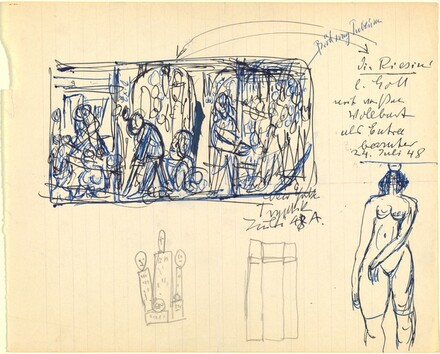 Sheet of Sketches including Triptych, Skyscrapers, and Nude Female Figure