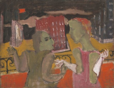 Untitled (two women before a cityscape)