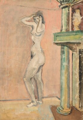 Untitled (female nude standing by a fireplace)