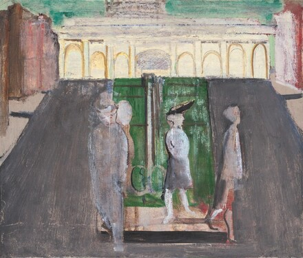 Untitled (four figures in a plaza)