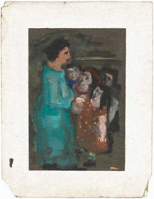 Standing Woman in a Green Dress with a Child