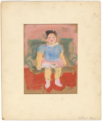 Woman Seated on a Green Chair