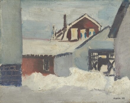 Buildings with Snowbank, Cliffside, New Jersey