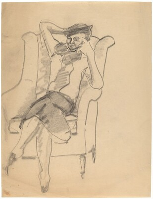 Woman in Hat, Seated in Wing Chair