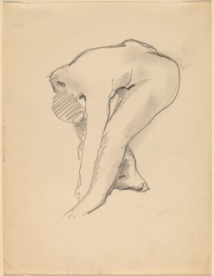Nude, Bending Forward, Arms Relaxed