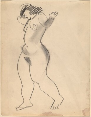 Standing Nude Turned to the Left, Arms Raised and Head Lowered