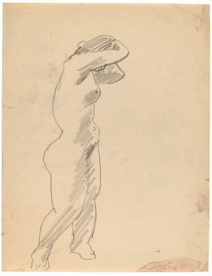Standing Nude Turned to the Right, Arms Raised to Head