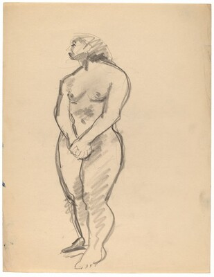 Standing Nude Looking to the Left, Hands Crossed in Front