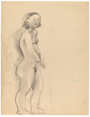 Standing Nude, Three-quarter View Facing Right, Head Turned to Viewer [recto]