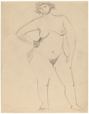 Large Standing Female Nude Facing Front, Hand on Hip